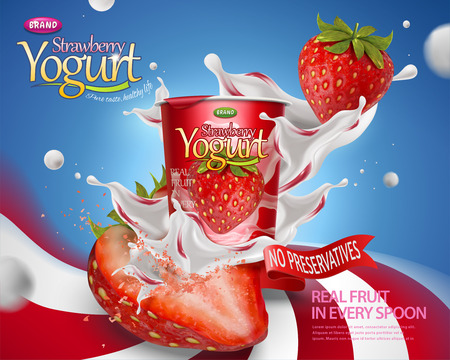 Dynamische Erdbeer-Joghurt-Anzeige mit spritzenden Füllungen und Früchten auf gestreiftem Wirbelhintergrund in der 3D-Illustration