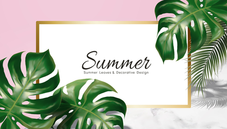 Summer decorative design with tropical leaves on geometric background, pink and marble stone texture Foto de archivo - 101478335