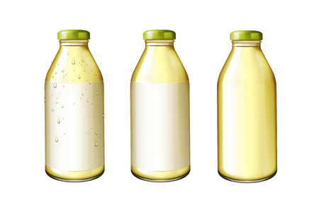 Juice in glass bottles set with blank label in 3d illustration
