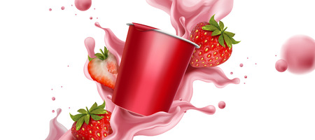 Splashing strawberry yogurt with fresh fruit and cup container in 3d illustration Foto de archivo - 101478344