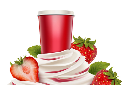 Strawberry ice cream and yogurt with fresh fruit and container in 3d illustration