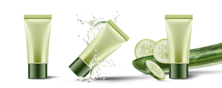 Set of cucumber cosmetic product in plastic tube with splashing liquid on white background in 3d illustration