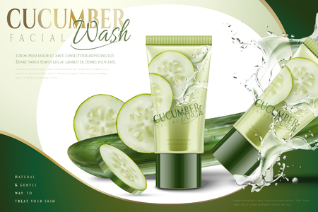 Cucumber facial mask with splashing water and ingredients in 3d illustration
