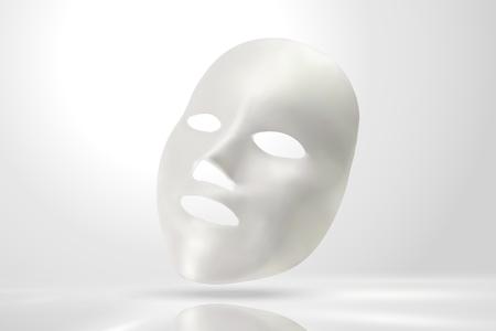 Gezichtsmasker mockup in 3d illustratie op parel witte achtergrond