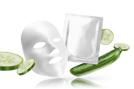 Masque facial au concombre avec des ingrédients en illustration 3d sur fond blanc Vecteurs