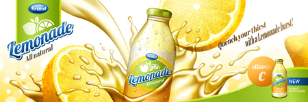 Natural lemonade juice with splashing liquid and sliced fruit in 3d illustration, glass bottle container Stock Illustratie