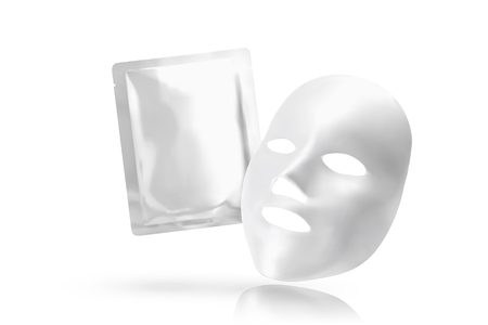 Facial mask with foil pack in 3d illustration on white background Stock Illustratie