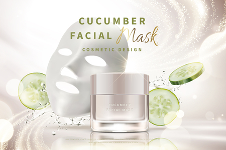 Cucumber facial mask cream jar with splashing water and ingredients in 3d illustration