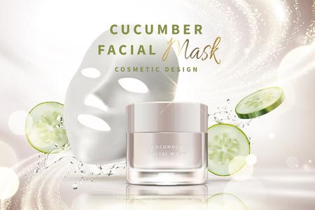 Tarro de crema de mascarilla facial de pepino con salpicaduras de agua e ingredientes en la ilustración 3d