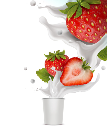 Splashing strawberry yogurt with fresh fruit and cup container in 3d illustration Vettoriali