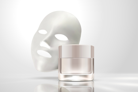 Facial mask with cream jar isolated on pearl white background in 3d illustration Ilustração