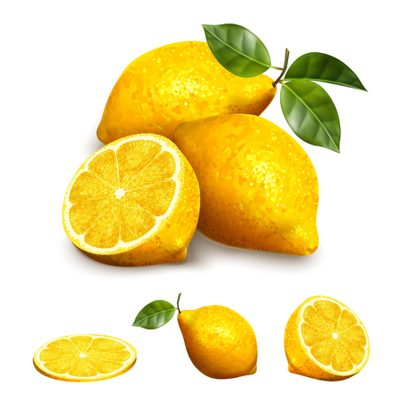 Yellow lemon fruit in different shape, sliced, section and whole elements in 3d illustration