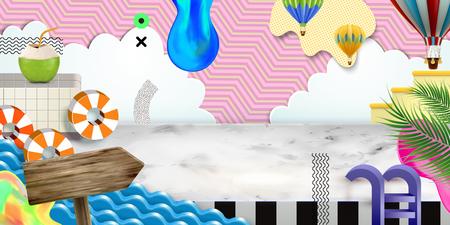 Lovely summer scene in paper art style, 3d illustration