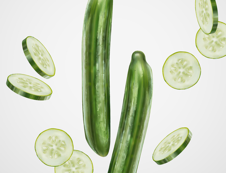 Refreshing cucumber design element with whole and sliced one in 3d illustration Ilustrace