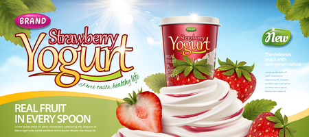 Strawberry yogurt with creamy texture and refreshing fruit on blue sky background in 3d illustration Illustration