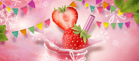 Strawberry ice shaved design element with refreshing fruit on pink background with snowflakes and party flags in 3d illustration