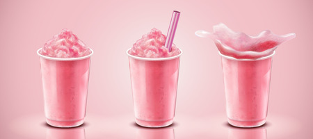 Set of strawberry ice shaved in takeaway cup, 3d illustration drink mockup on pink background