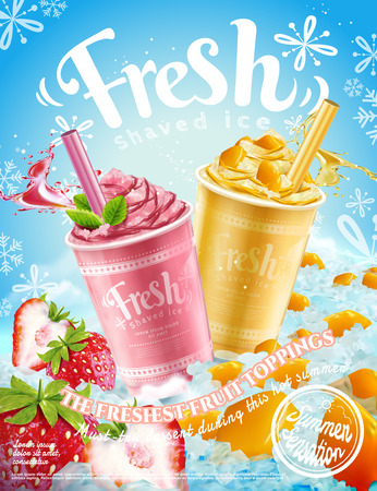 Summer frozen ice shaved poster with strawberry and mango flavors in 3d illustration, refreshing fruit and toppings