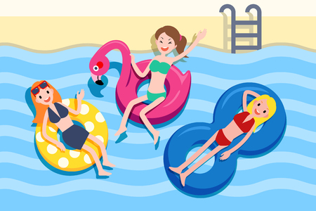 Three cute girls lying on the lifebuoy and holding the hot summer swimming pool party, top view 스톡 콘텐츠 - 121825899
