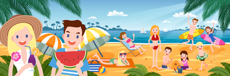 Tropical beach party with people enjoying hot summer time in flat design