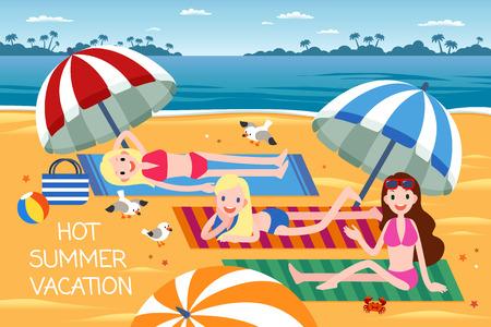Hot summer vacation with three women enjoying suntan on the beach, flat design