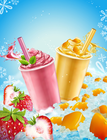 Summer ice shaved takeout cup in mango and strawberry flavors, 3d illustration with fresh fruit and ice elements Illustration