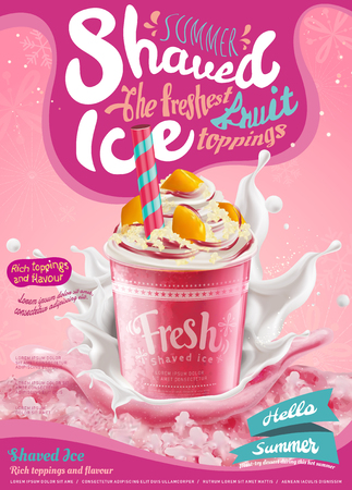 Strawberry ice shaved poster with splashing milk in 3d illustration, pink background with snowflakes