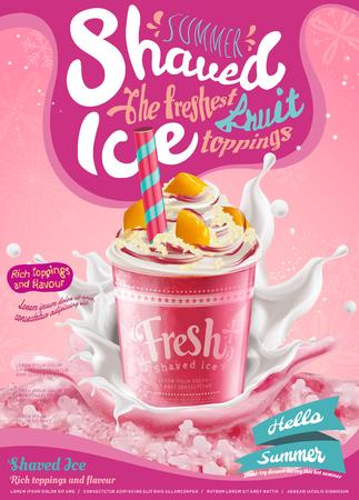 Aardbeienijs geschoren poster met opspattende melk in 3d illustratie, roze achtergrond met sneeuwvlokken Vector Illustratie