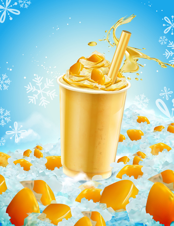 Isolated mango ice shaved takeout cup with splashing liquid and fruit in 3d illustration on blue iced background