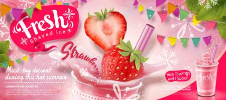 Erdbeereis rasierte Anzeigen mit frischem Obst in 3D-Darstellung, rosa Partydekoration mit Schneeflocken Vektorgrafik