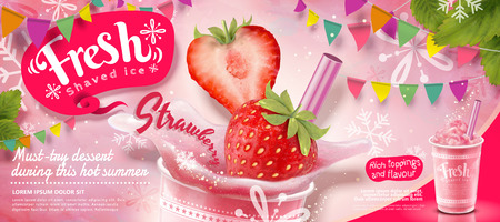 Strawberry ice shaved ads with fresh fruit in 3d illustration, pink party decoration with snowflakes