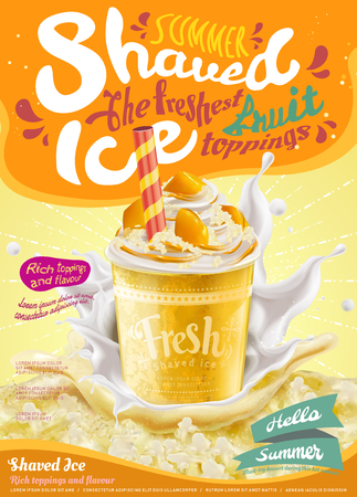Summer frozen ice shaved poster in mango flavor in 3d illustration, splashing milk and ice element