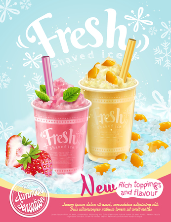 Summer frozen ice shaved poster with strawberry and mango flavors in 3d illustration, refreshing fruit and toppings Imagens - 103452189