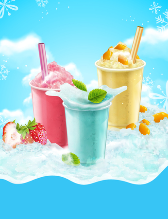 Summer ice shaved takeout cup in mango, strawberry and soda flavors, 3d illustration with blue iced background with snowflakes Illustration