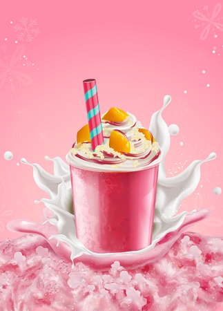 Strawberry ice shaved takeout cup with mango toppings and cream on pink background in 3d illustration