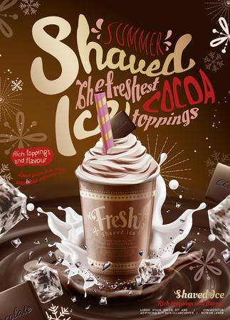 Sciroppo di cioccolato con sciroppo di ghiaccio annunci con farcitura cremosa e spruzzi di cubetti di ghiaccio nell'illustrazione 3d Vettoriali