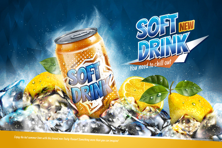 Soft drink ads with sliced lemon on freezing ice cubes in 3d illustration