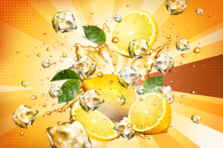 Dynamic splashing juice with sliced fruit and ice cubes element in 3d illustration  イラスト・ベクター素材