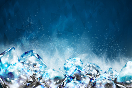 Frosty ice cubes background in blue tone, 3d illustration