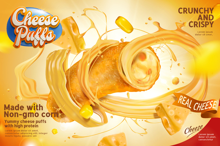 Closeup of cheese puffs section and fillings swirling out from the curl in 3d illustration, delicious snack ads