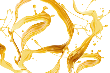 Cheese sauce splashing in the air on the white background in 3d illustration