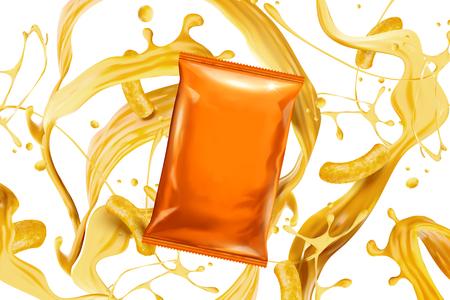 Lege oranje foliezak met spattende kaassaus en krullen in 3d illustratie Vector Illustratie
