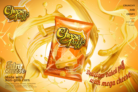 Cheese puffs package design with splashing ingredients in 3d illustration, orange tone