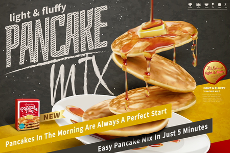 Delicious fluffy pancake floating in the air on blackboard background in 3d illustration