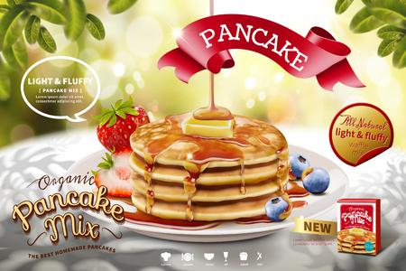 Delicious fluffy pancake ads on nature glitter bokeh background in 3d illustration, morning scene Illustration
