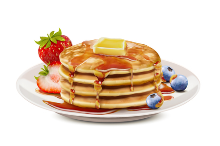 Delicious fluffy pancake with honey butter toppings and fresh fruit in 3d illustration, white background Standard-Bild - 103899190