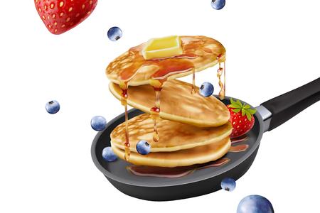 Deliciosos panqueques esponjosos en una sartén, frutas frescas y coberturas de miel en la ilustración 3d sobre fondo blanco.