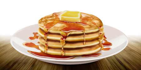 Delicious fluffy pancake on white plate in 3d illustration