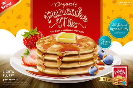 Delicious fluffy pancake with honey butter toppings and fresh fruit in 3d illustration, pancake mix product ad