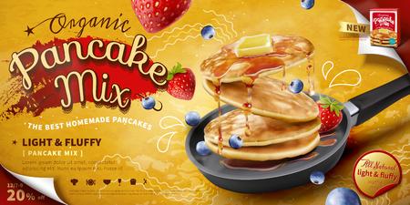 Heerlijke pluizige pannenkoek in koekenpan, vers fruit en honingtoppings in 3d illustratie, banner of poster voor voedseladvertenties Vector Illustratie